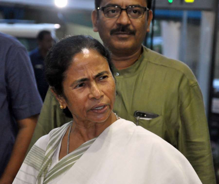 Howrah: West Bengal Chief Minister Mamata Banerjee arrives to address a press conference along with Minister Aroop Biswas at Nabanna in Howrah on June 28, 2017. (Photo: IANS) by .