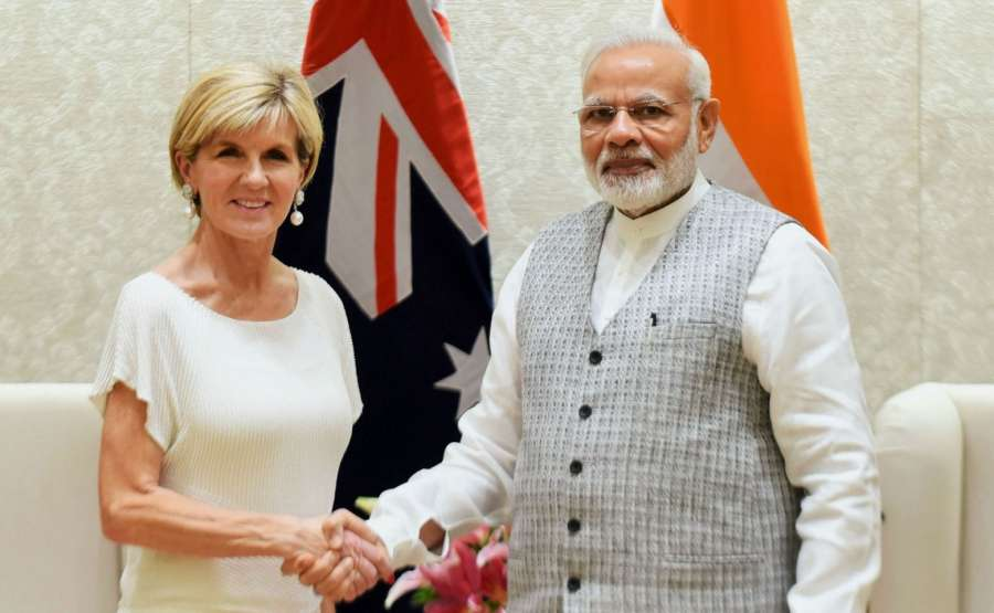 New Delhi: Australian Foreign Affairs Minister Julie Bishop calls on Prime Minister Narendra Modi, in New Delhi on July 18, 2017. (Photo: IANS/PIB) by .
