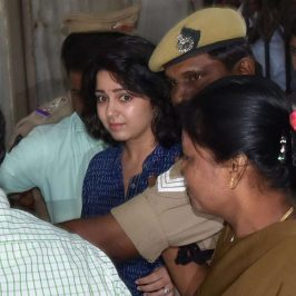 Hyderabad: Actress Charmy Kaur arrives to appear before Special Investigation Team (SIT) in connection with Hyderabad drug racket case; in Hyderabad on July 26, 2017. (Photo: IANS) by .