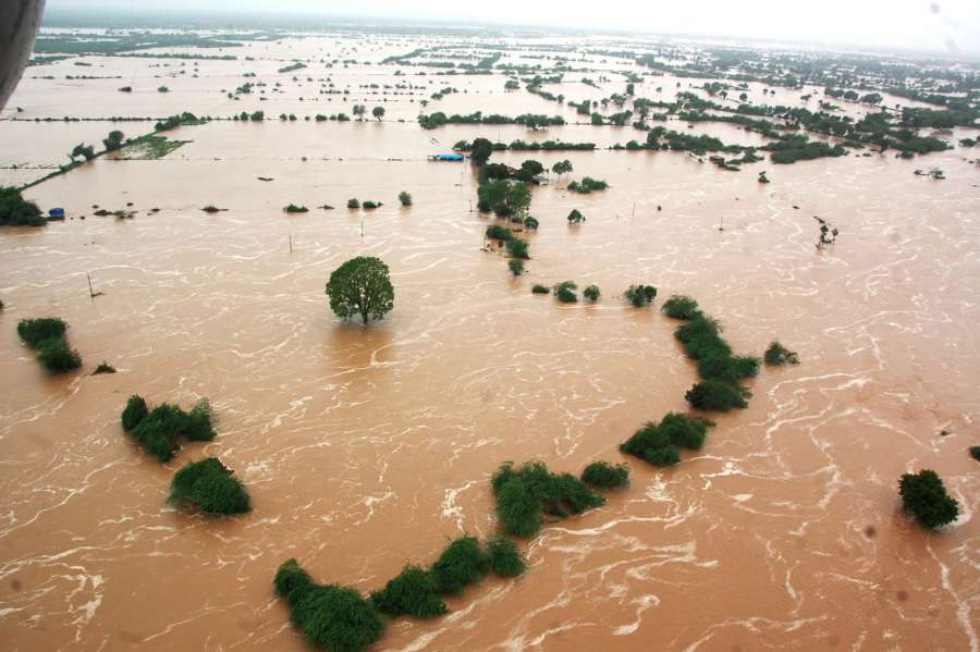 Banaskantha: An aerial view of flood hit Banaskantha district of Gujarat on July 25, 2017. (Photo: IANS) by .