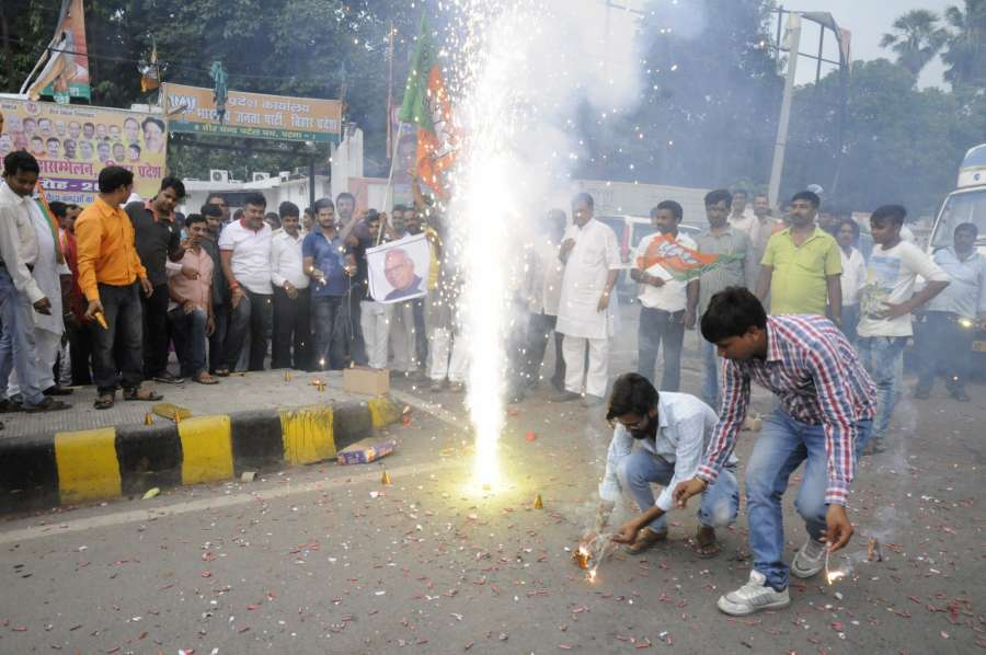 Patna: BJP workers celebrate the victory of NDA's presidential candidate Ram Nath Kovind in Patna, on July 20, 2017. (Photo:IANS) by .
