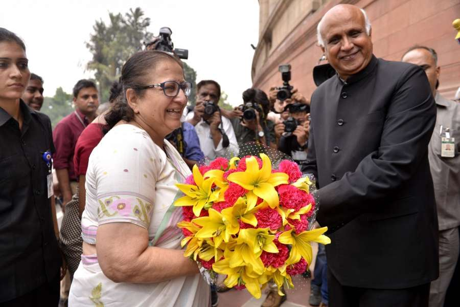New Delhi: Lok Sabha speaker Sumitra Mahajan arrives at Parliament to cast her vote in presidential polls on July 17, 2017. (Photo: IANS) by .