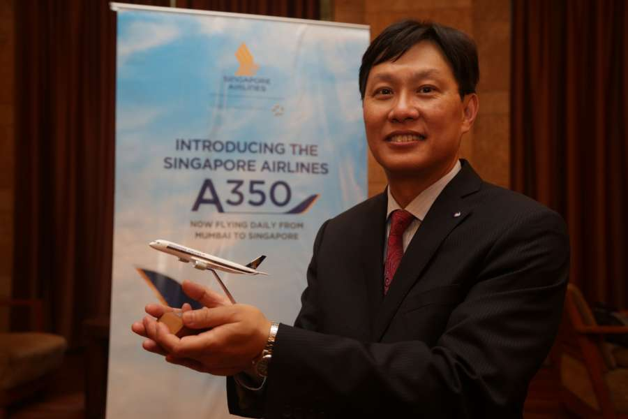 Mumbai: Singapore Airlines (India) General Manager David Lim at the launch of A350 services in India; in Mumbai on June 30, 2017. (Photo: IANS) by .