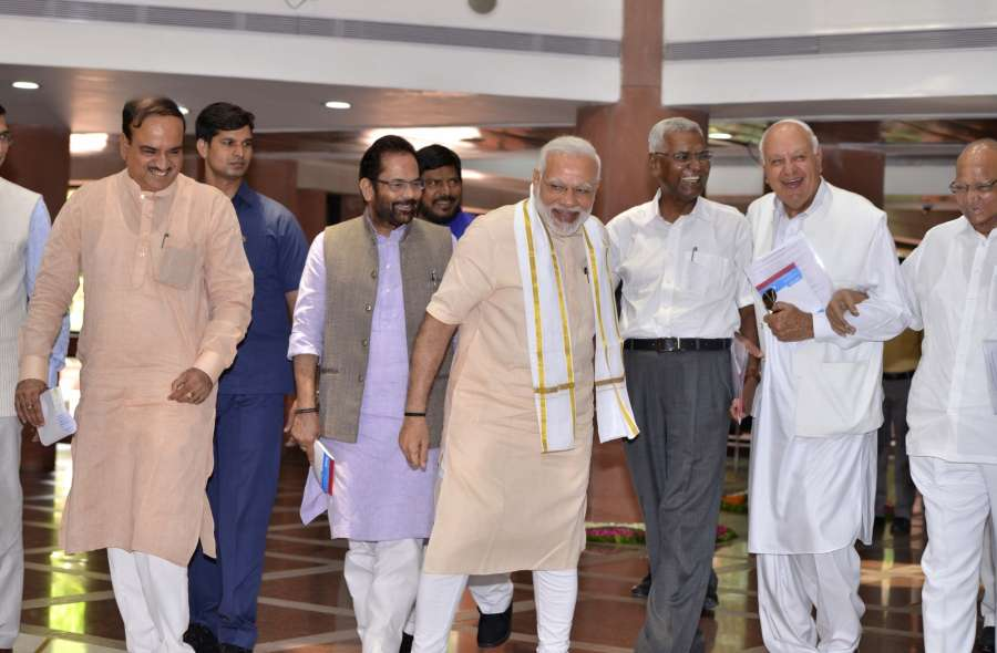 New Delhi: Prime Minister Narendra Modi with NCP chief Sharad Pawar, National Conference President Farooq Abdullah, CPI General Secretary D Raja, Union Ministers Ananth Kumar and Mukhtar Abbas Naqvi arrive to attend an all-party meeting ahead of the monsoon session of Parliament, in New Delhi on July 16, 2017. (Photo: IANS) by .