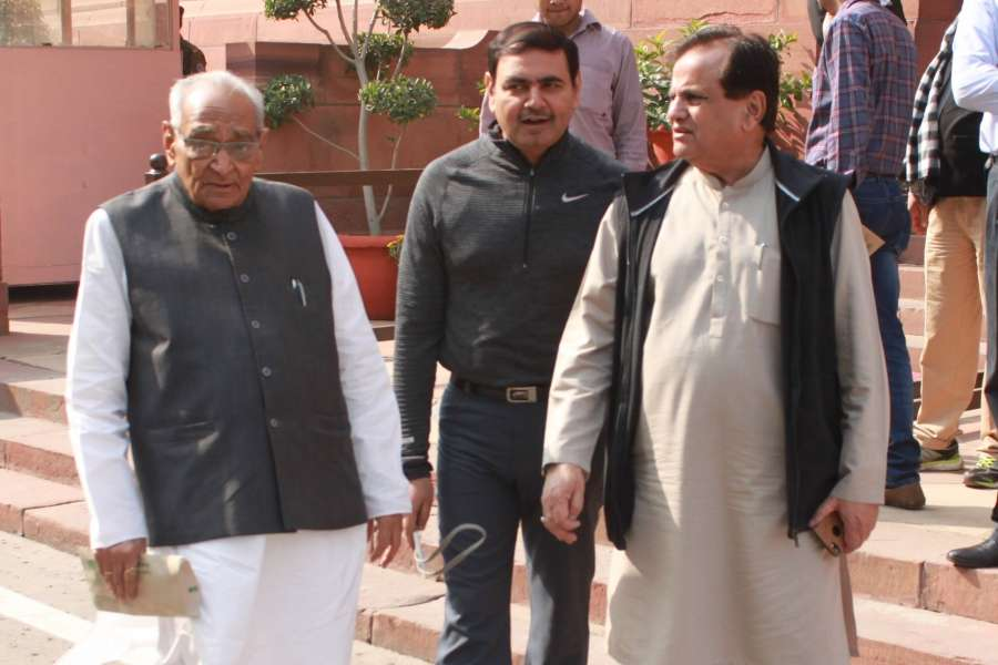New Delhi: (L to R) Congress leaders Motilal Vora and Ahmed Patel at the Parliament on Nov 21, 2016. (Photo: Amlan Paliwal/IANS) by .