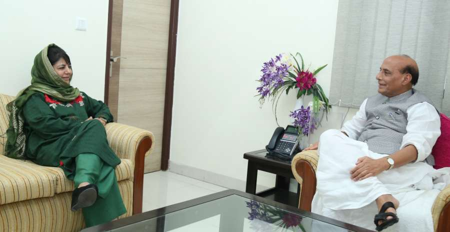 New Delhi: Jammu and Kashmir Chief Minister Mehbooba Mufti calls on Union Home Minister Rajnath Singh, in New Delhi on Aug 10, 2017. (Photo: IANS/PIB) by .