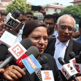 "New Delhi: Supreme Court lawyer fighting against the provision of triple talaq Farha Faiz talks to the press after the court's hearing on Triple Talaq in New Delhi on Aug 22, 2017. The Supreme Court struck down the practice of Triple Talaq terming it ""unconstitutional"", ""arbitrary"" and ""not part of Islam."" (Photo: IANS) by ."
