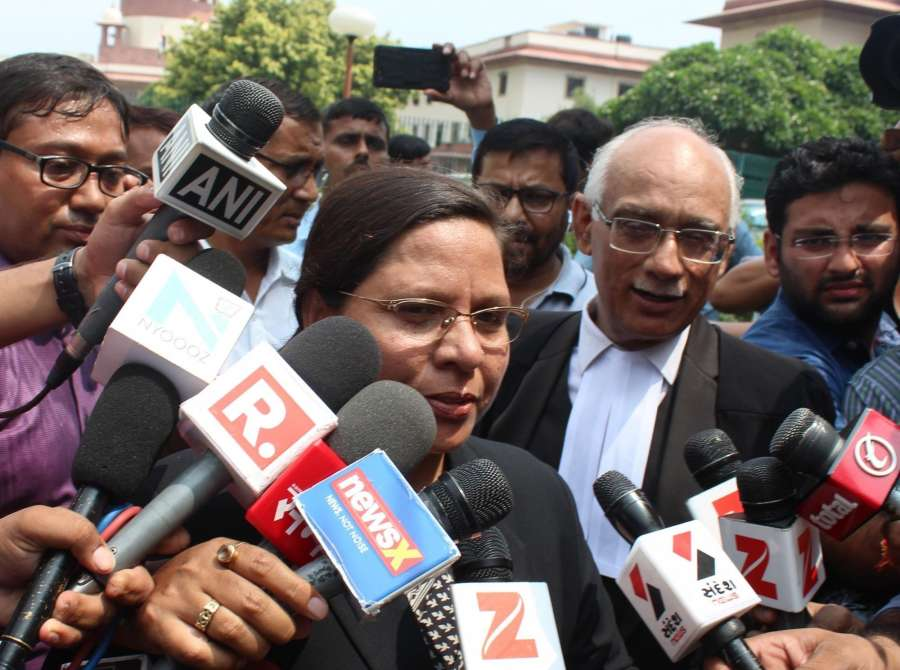 New Delhi: Supreme Court lawyer fighting against the provision of triple talaq Farha Faiz talks to the press after the court's hearing on Triple Talaq in New Delhi on Aug 22, 2017. The Supreme Court struck down the practice of Triple Talaq terming it