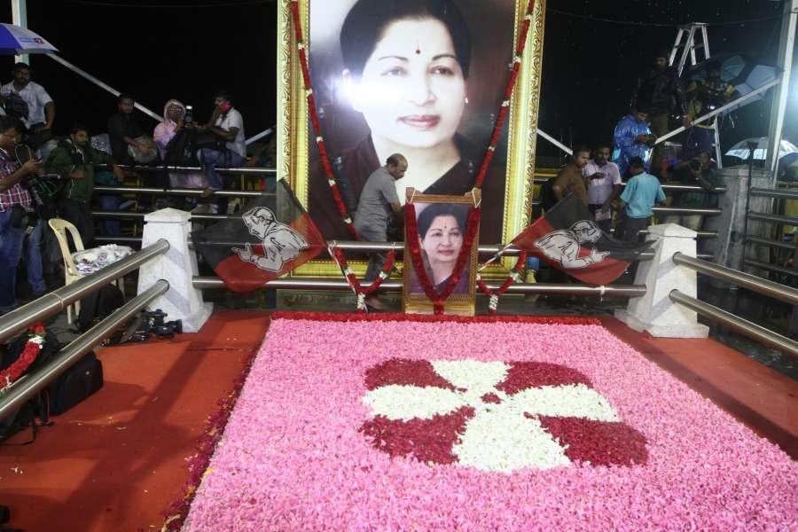 The memorial of former Chief MIinister J Jayalalitha at Marina Beach in Chennai on Aug. 18, 2017. (Photo: IANS) by .