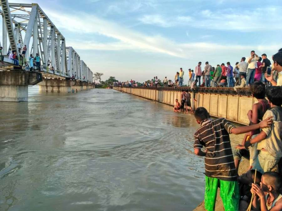 Darbhanga: A view of the flooded Samastipur-Darbhanga railway line in Bihar on Aug 20, 2017. (Photo: IANS) by .