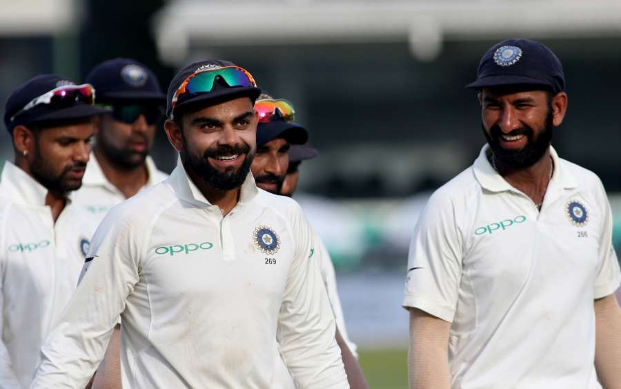 Colombo: Indian skipper Virat Kohli leads his teammates back to the pavilion at the end of Day 3 of the second test match between India and Sri Lanka at Sinhalese Sports Club Ground in Colombo, Sri Lanka on Aug 5, 2017. (Photo: Surjeet Yadav/IANS) by .