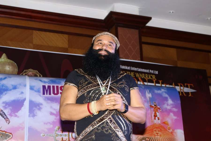 Mumbai: Dera Sacha Sauda (DSS) spiritual head Gurmeet Ram Rahim Singh during the music launch of the film MSG The Warrior Lion Heart in Mumbai on Sept. 17, 2016. (Photo: IANS) by .