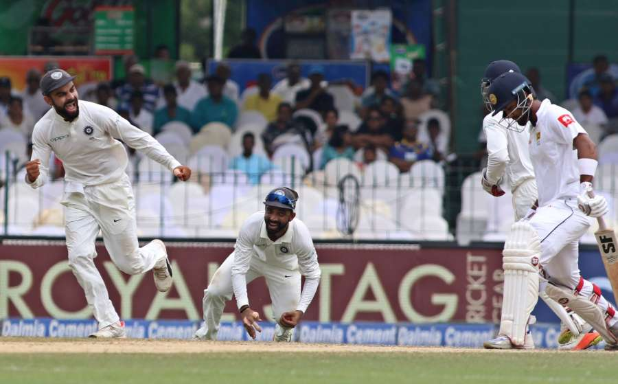 Colombo: Virat Kohli of celebrates fall of a wicket on Day 4 of the second test match between India and Sri Lanka at Sinhalese Sports Club Ground in Colombo, Sri Lanka on Aug 6, 2017. (Photo: Surjeet Yadav/IANS) by .