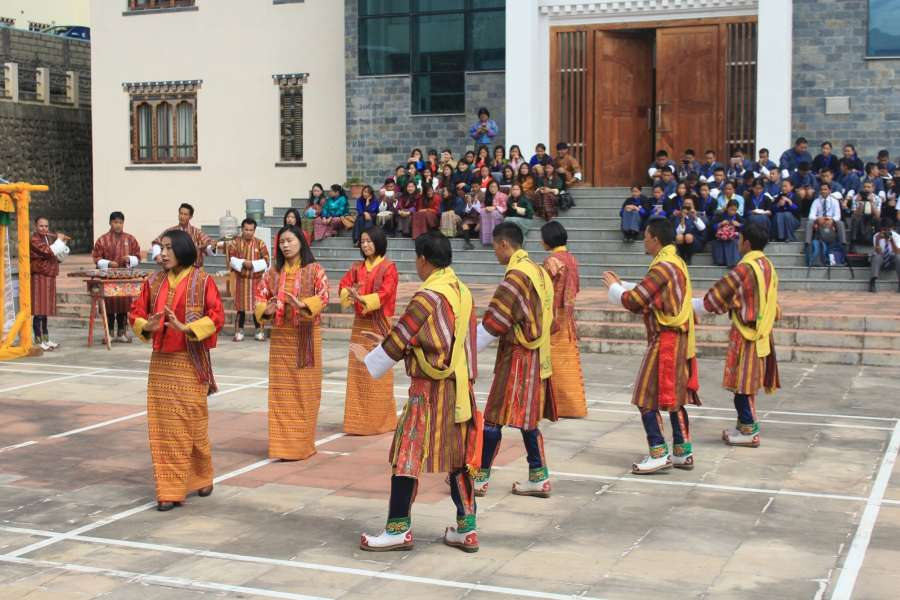 Thimphu: Royal Academy students perform 'Menjong Choegi Zhingdhir' during Mountain Echoes Literary Festival in Thimphu, Bhutan on Aug 26, 2017. (Photo: IANS) by .