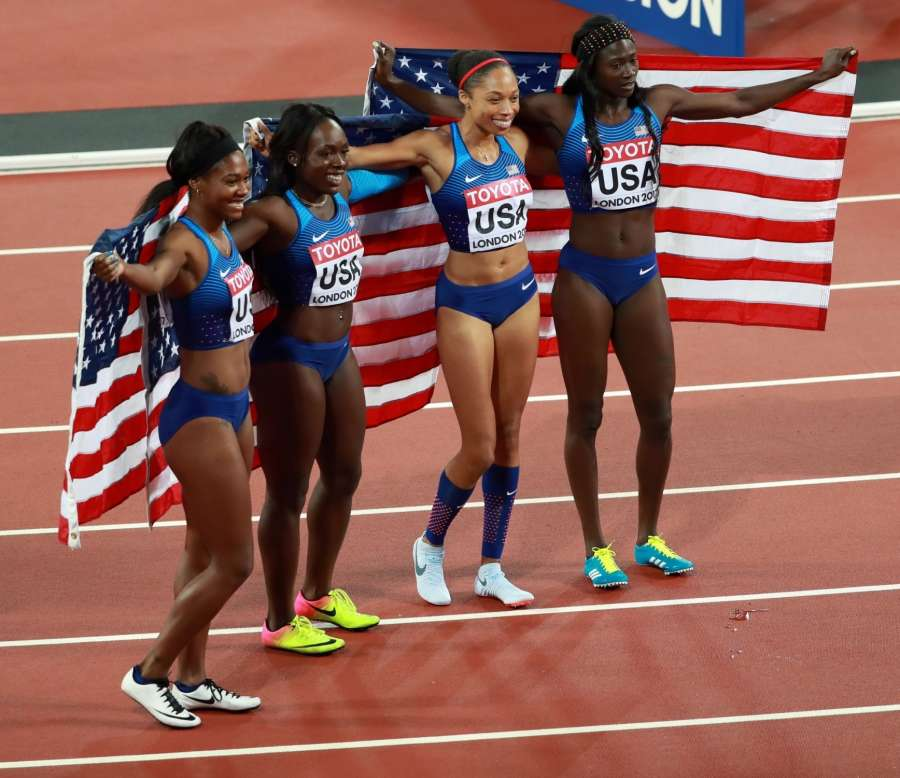 LONDON, Aug. 13, 2017 -- Athletes of the United States celebrate after winning the women's 4x100m relay final on Day 9 at the IAAF World Championships 2017 in London, Britain on Aug. 12, 2017. Team of the United States claimed the title with 41.82 seconds. (Xinhua/Luo Huanhuan/IANS) by .