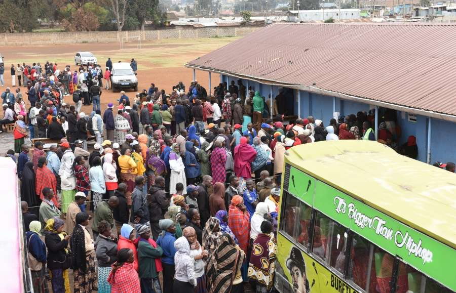NAIROBI, Aug. 8, 2017 (Xinhua) -- People queue to cast ballots at a polling station in Nairobi, capital of Kenya, Aug. 8, 2017. About 19.6 million Kenyans are flocking to more than 40,000 polling stations across the nation to cast ballots for the election of the country's next president on Tuesday. (Xinhua/Li Baishun/IANS) by .