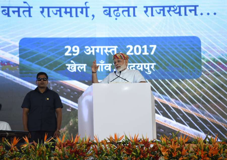 Udaipur: Prime Minister Narendra Modi delivers his address after inauguration and foundation stone laying for several major highway projects at Udaipur in Rajasthan on Aug 29, 2017. (Photo: IANS/PIB) by .