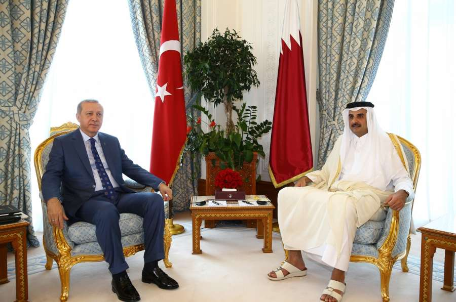 ISTANBUL, July 25, 2017 (Xinhua) -- Qatar's Emir Sheikh Tamim bin Hamad Al Thani (R) meets with visiting Turkish President Recep Tayyip Erdogan in Doha, Qatar, July 24, 2017. The two leaders held a meeting on Monday to discuss ways to end the diplomatic crisis in the Gulf. (Xinhua/DHA/Depo Photos/IANS) by .