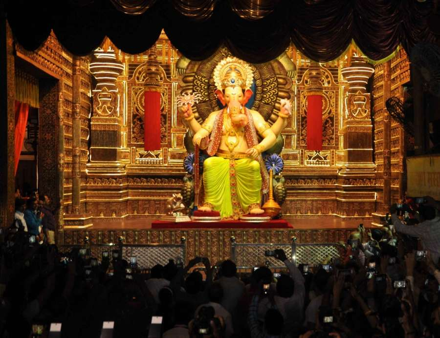 Mumbai: First look of Ganesh idol at Lalbaugcha Raja pandal ahead of Ganesh Chaturthi in Mumbai on Aug 21, 2017. (Photo: IANS) by .
