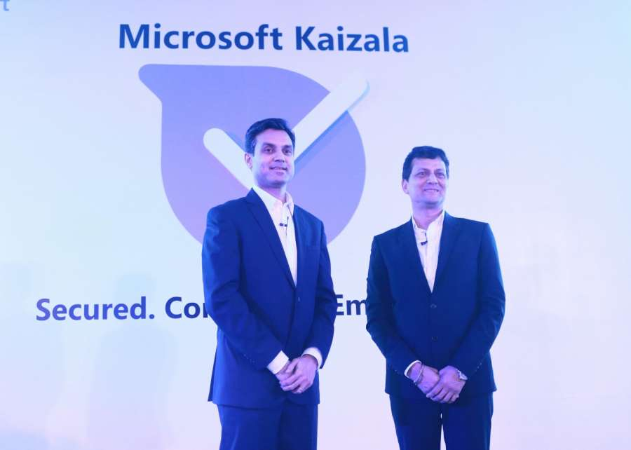 New Delhi: Microsoft India President Anant Maheshwari and Corporate Vice-President Rajiv Kumar at the launch of Microsoft's Kaizala mobile application in New Delhi, on July 26, 2017. (Photo: IANS) by .