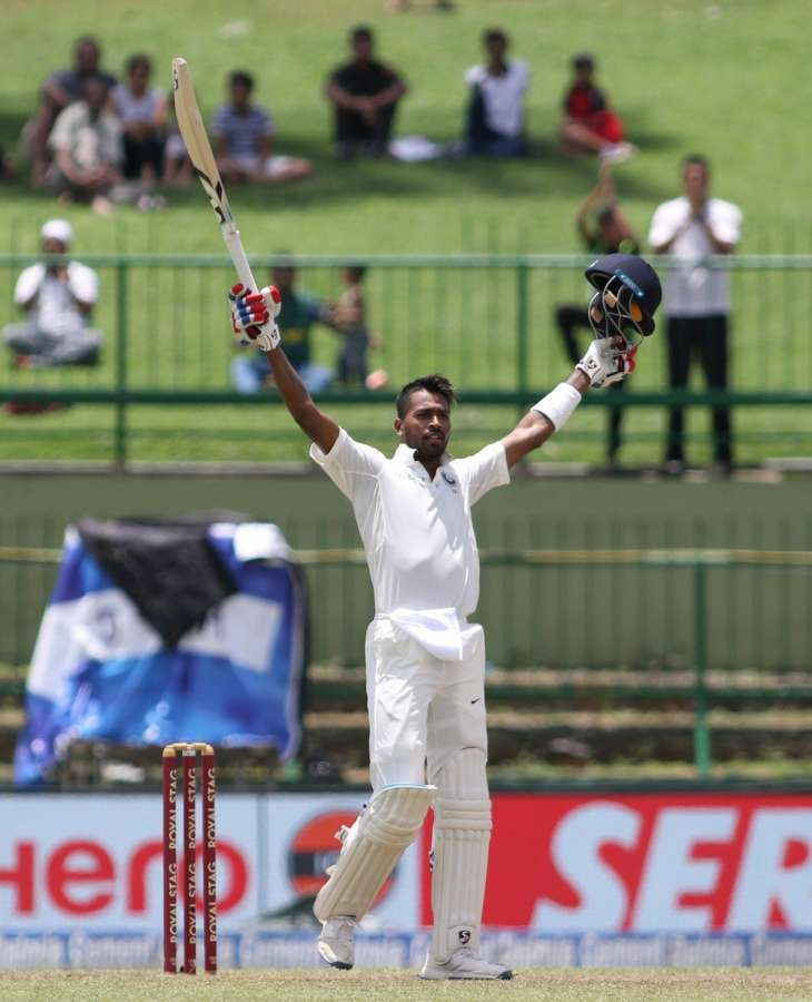 Pallekele: India's Hardik Pandya celebrates his century on Day 2 of the third test match between India and Sri Lanka at Pallekele International Cricket Stadium in Pallekele, Sri Lanka on Aug 13, 2017. (Photo: Surjeet Yadav/IANS) by .