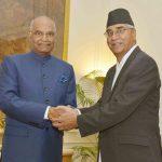 New Delhi: Nepalese Prime Minister Sher Bahadur Deuba calls on President Ram Nath Kovind at the Rashtrapati Bhavan in New Delhi on Aug 24, 2017. (Photo: IANS/RB) by .