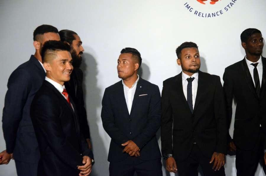 Mumbai: Footballer Sunil Chhetri, Sandesh Jhingan, Debjit Majumder and Jeje Lalpekhlua during the ISL 2017 Player Draft in Mumbai, on July 23, 2017. (Photo: IANS) by .