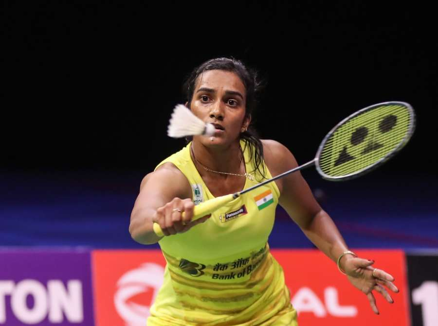 GLASGOW, Aug. 28, 2017 (Xinhua) -- Pusarla V. Sindhu of India competes during the women's singles final against Nozomi Okuhara of Japan at BWF Badminton World Championships 2017 in Glasgow, Britain, on Aug. 27, 2017. Nozomi Okuhara won 2-1. (Xinhua/Shang Yuqi/IANS) by .