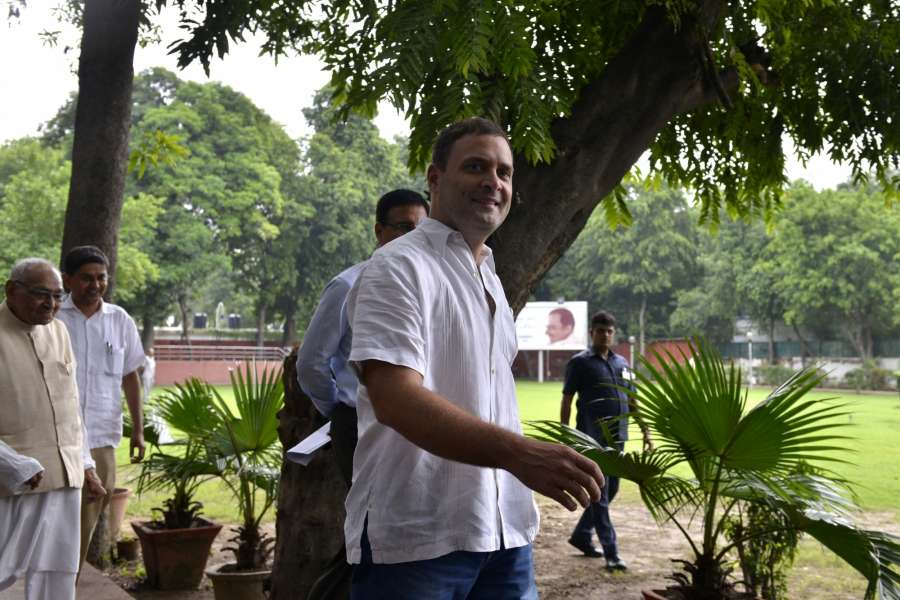 New Delhi: Congress Vice President Rahul Gandhi arrives to attend a party meeting in New Delhi on Aug 2, 2017. (Photo: IANS) by .