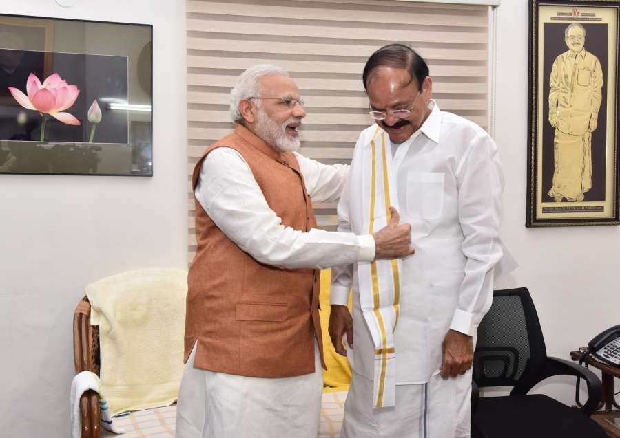 New Delhi: Prime Minister Narendra Modi congratulates M. Venkaiah Naidu on being elected India's 13th Vice President at his residence, in New Delhi on Aug 5, 2017. (Photo: IANS/PIB) by .