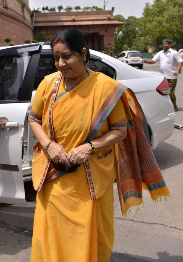 New Delhi: External Affairs Minister Sushma Swaraj at Parliament on Aug 3, 2017. (Photo: IANS) by .