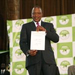 NAIROBI, Aug. 11, 2017 (Xinhua) -- Kenyan President Uhuru Kenyatta shows the certificate as the winner of presidential elections in Nairobi, capital of Kenya, on Aug. 11, 2017. Kenyan President Uhuru Kenyatta was on Friday declared the winner of Tuesday's presidential elections with 8.20 million (54.27 percent) votes against 6.76 million (44.74 percent) for his main challenger, Raila Odinga after a tense electoral process which was preceded by an opposition walkout. (Xinhua/Charles Onyango/IANS) by .