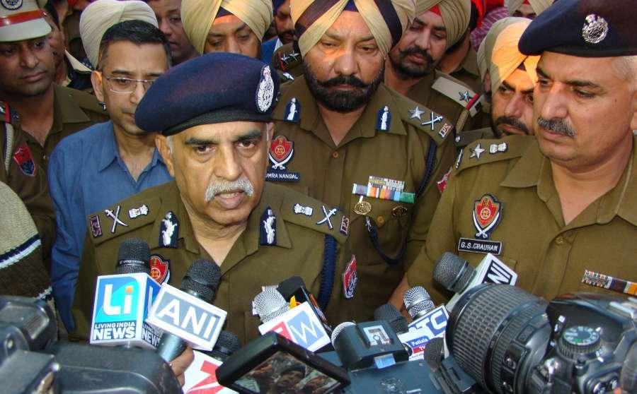Nabha: Punjab Director General of Police Suresh Arora talks to press regarding Nabha jail break on Nov 27, 2016. Armed men attacked the maximum security Nabha jail in Punjab on Sunday and escaped with two terrorists, including Khalistan Liberation Force's Harminder Singh Mintoo and four gangsters. (Photo: IANS) by .
