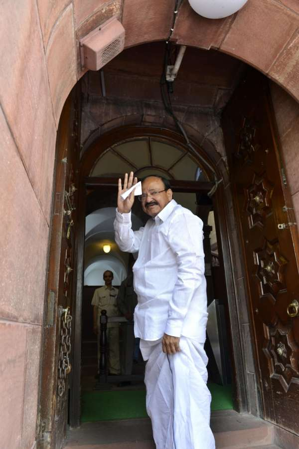 New Delhi: NDA's vice presidential candidate M. Venkaiah Naidu arrives at Parliament on Aug 3, 2017. (Photo: IANS) by .