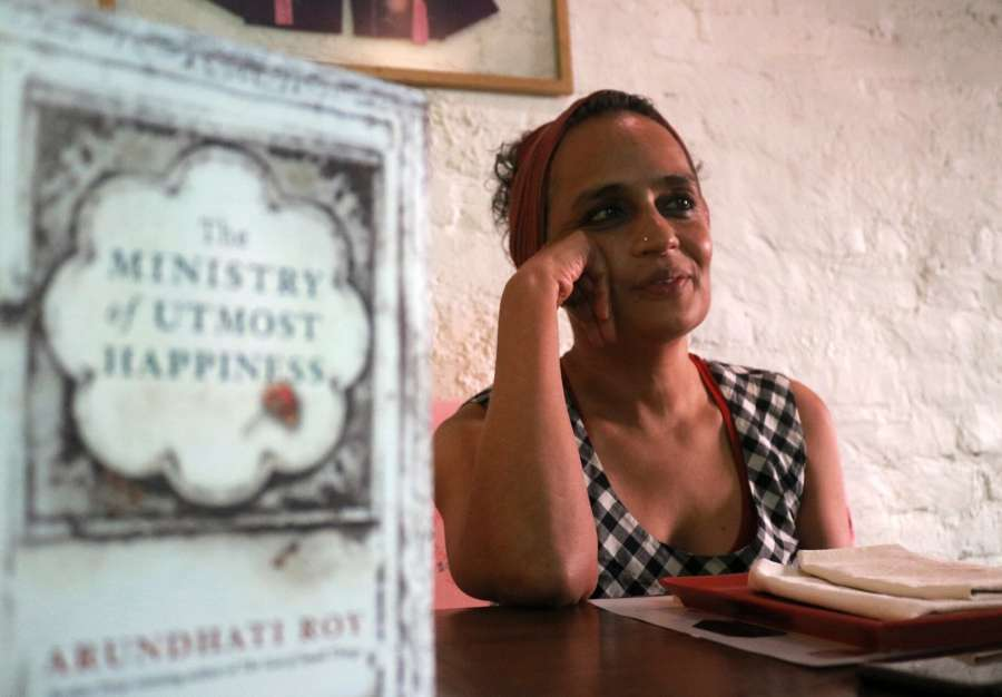 New Delhi: Novelist and political activist Arundhati Roy during an interview in New Delhi on Aug 14, 2017. (Photo: IANS) by .