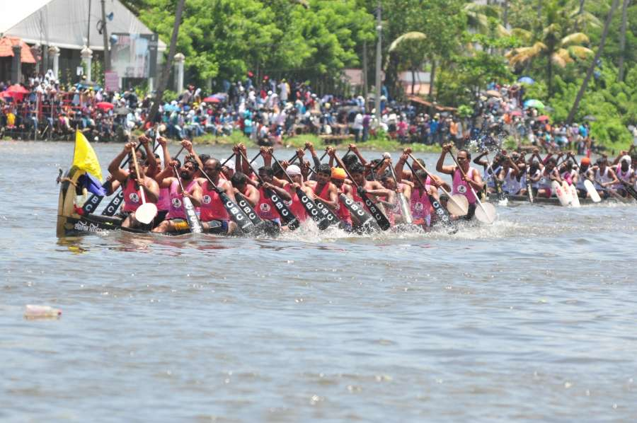 Alappuzha: Participents during the Nehru boat race at Vembanad Lake in Alappuzha of Kerala on Aug 12, 2017. The 65th edition of the race, named after former Prime Minister Jawaharlal Nehru. (Photo: IANS) by .