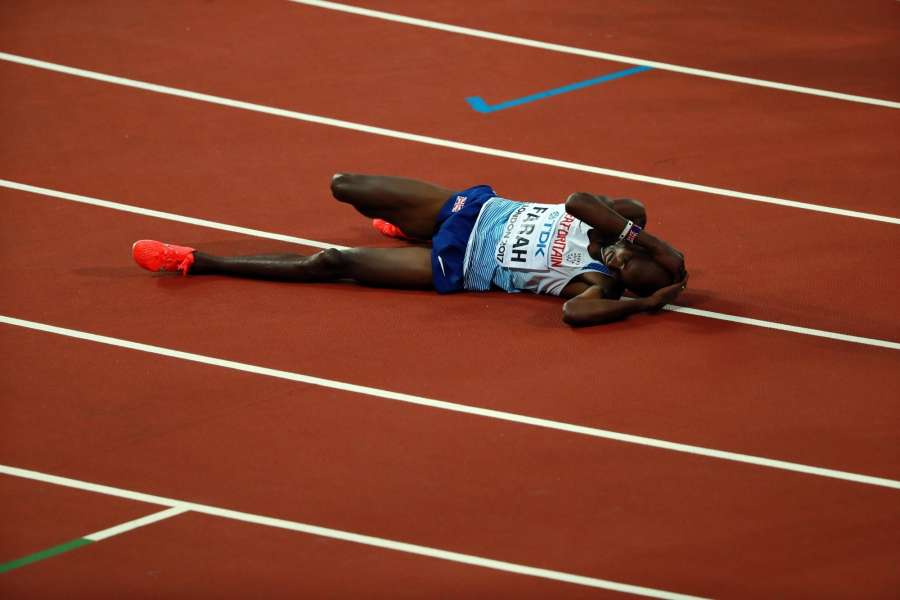 LONDON, Aug. 13, 2017 (Xinhua) -- Mohamed Farah of Britain falls on the track after Men's 5000 Metres Final on Day 9 of the 2017 IAAF World Championships at London Stadium in London, Britain, on Aug. 12, 2017. Mohamed Farah took the silver medal with 13 minutes 33.22 seconds. (Xinhua/Luo Huanhuan/IANS) by .