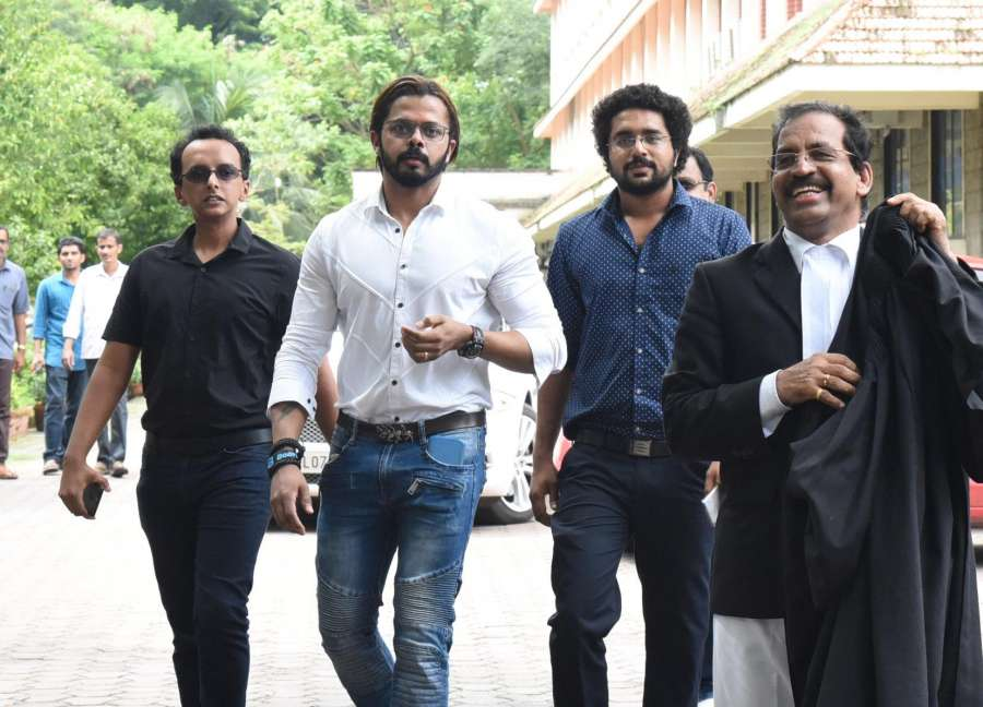 Kochi: Indian pacer S. Sreesanth at Kerala High Court in Kochi on Aug 7, 2017. The Kerala High Court on Monday lifted the life ban imposed by the Board of Control for Cricket in India (BCCI). The BCCI's Disciplinary Committee headed by present Union Finance Minister Arun Jaitley had slapped a life-time ban on Sreesanth and Chavan on 13th September, 2013. (Photo: IANS) by .