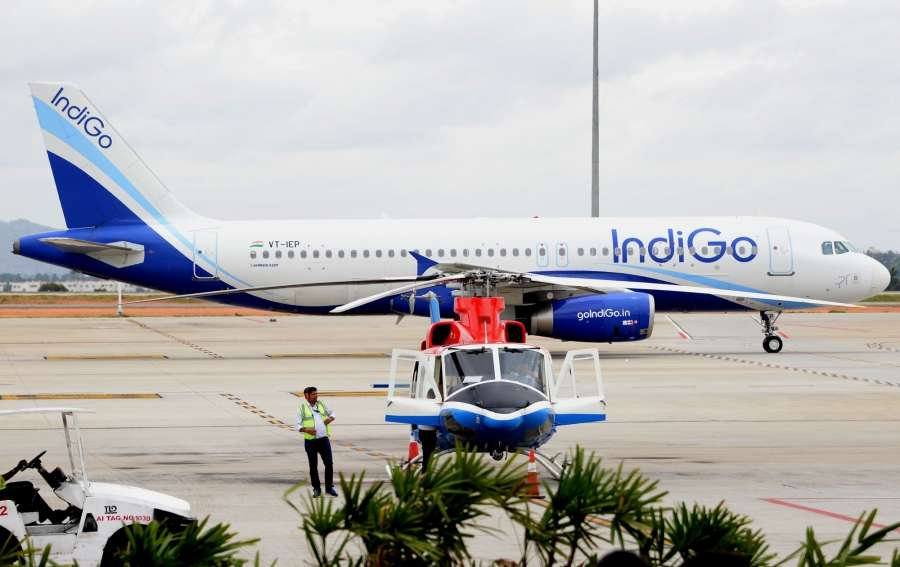 Bengaluru: A helicopter-taxi (heli-taxi) at Bengaluru International Airport on Aug 4, 2017. (Photo: IANS) by .