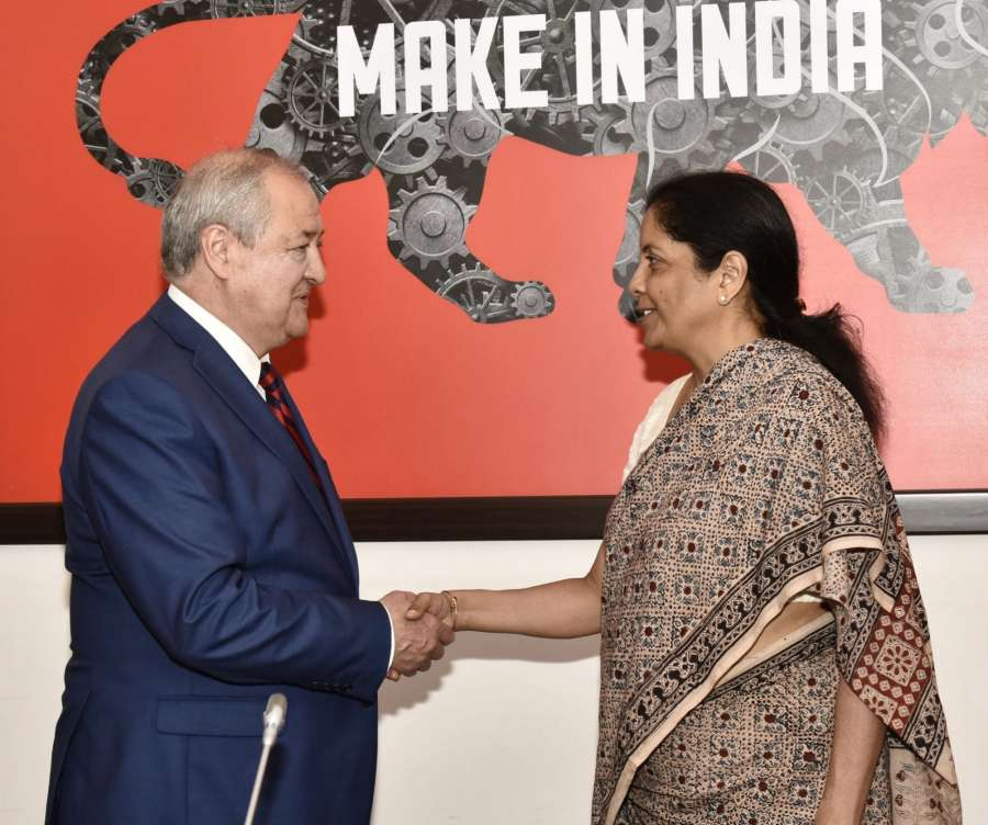 New Delhi: Uzbekistan Foreign Affairs Minister Abdulaziz Kamilov calls on Union MoS Commerce and Industry (Independent Charge) Nirmala Sitharaman in New Delhi on Aug 23, 2017. (Photo: IANS/PIB) by .