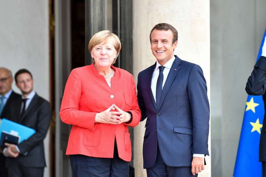 PARIS, Aug. 28, 2017 (Xinhua) -- French President Emmanuel Macron (R) welcomes German Chancellor Angela Merkel at the Elysee Palace in Paris, France on Aug. 28, 2017. The leaders of France, Germany, Spain and Italy on Monday vowed to strengthen support for African countries in an effort to stem illegal migration. The leaders issued a joint statement Monday evening following a meeting in Paris on migration, in which they were joined by their counterparts of Niger and Chad, along with head of Libya's United Nations (UN)-backed government and foreign policy chief of the European Union (EU). (Xinhua/Chen Yichen/IANS) by .