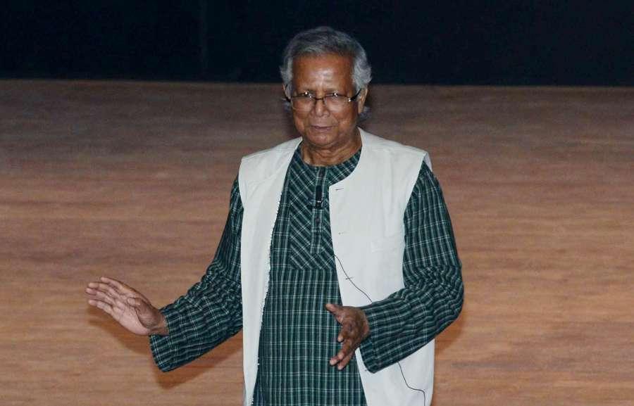 Kolkata: Bangladesh's Nobel Laureate economist Muhammad Yunus addresses during bicentenary celebration of Presidency University in Kolkata on Jan 10, 2017. (Photo: Kuntal Chakrabarty/IANS) by .