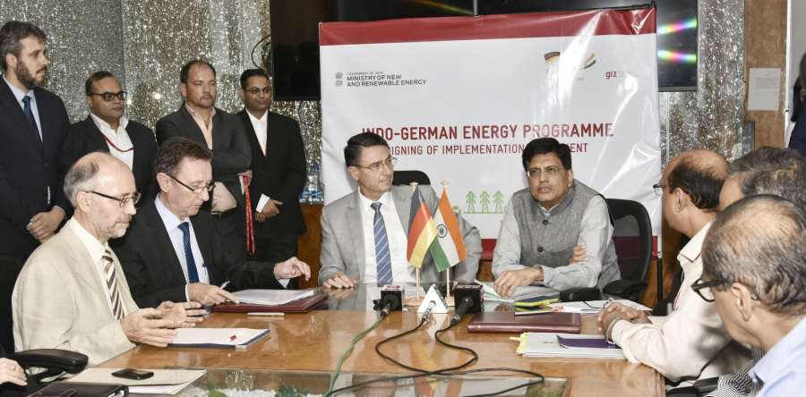 New Delhi: Union MoS Power (Independent Charge) Piyush Goyal addresses at the signing ceremony of Implementation Agreement of Indo-German Energy Programme- Green Energy Corridors (IGEN-GEC) between MNRE and GIZ in New Delhi on Aug 28, 2017. Also seenn Germany Ambassador to India, Dr. Martin Ney. (Photo: IANS/PIB) by .