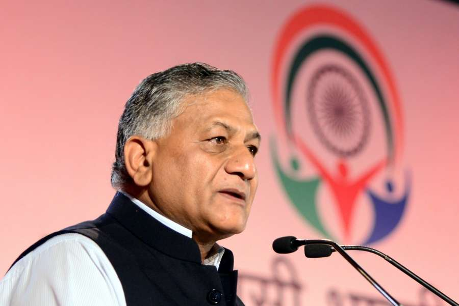 Bengaluru: Union Minister State for External Affairs VK Singh speaking at the inauguration of Youth Pravasi Bharatiya Divas being held in Bengaluru on Jan. 7, 2017. (Photo: IANS) by .