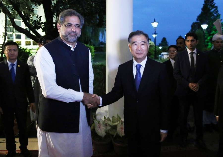 PAKISTAN-ISLAMABAD-ABBASI-WANG YANG-MEETING by .
