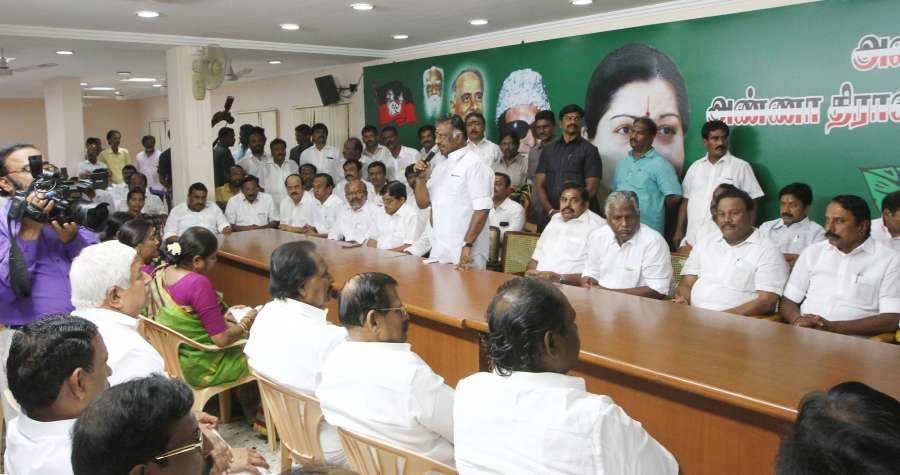 Chennai: Former Tamil Nadu Chief Minister O. Panneerselvam addresses during the merger of the two factions of the party at the AIADMK headquarters in Chennai on Aug 21, 2017. (Photo: IANS) by .