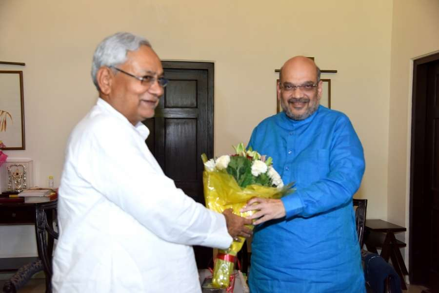New Delhi: Bihar Chief Minister Nitish Kumar meets BJP chief Amit Shah at latter's residence in New Delhi, on Aug 11, 2017. (Photo: IANS) by .