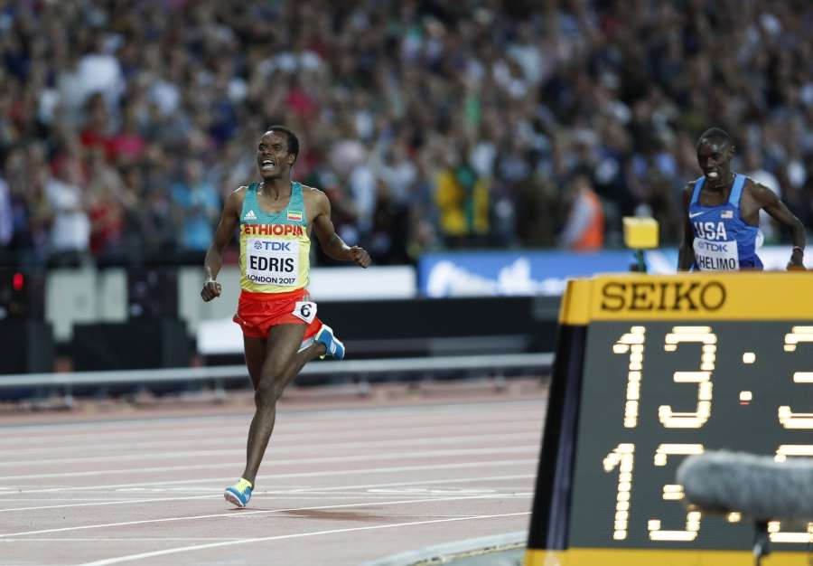 LONDON, Aug. 13, 2017 (Xinhua) -- Muktar Edris of Ethiopia reacts after Men's 5000 Metres Final on Day 9 of the 2017 IAAF World Championships at London Stadium in London, Britain, on Aug. 12, 2017. Muktar Edris claimed the title with 13 minutes 32.79 seconds. (Xinhua/Han Yan/IANS) by .