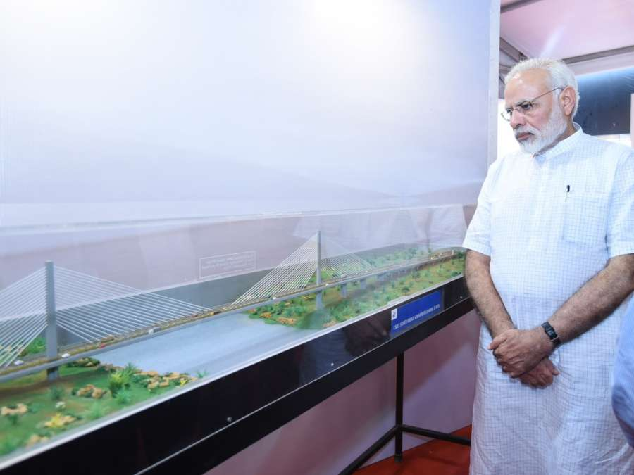 Udaipur: Prime Minister Narendra Modi at the inauguration and laying of foundation stone of various major highway projects at Udaipur in Rajasthan on Aug 29, 2017. (Photo: IANS/PIB) by .