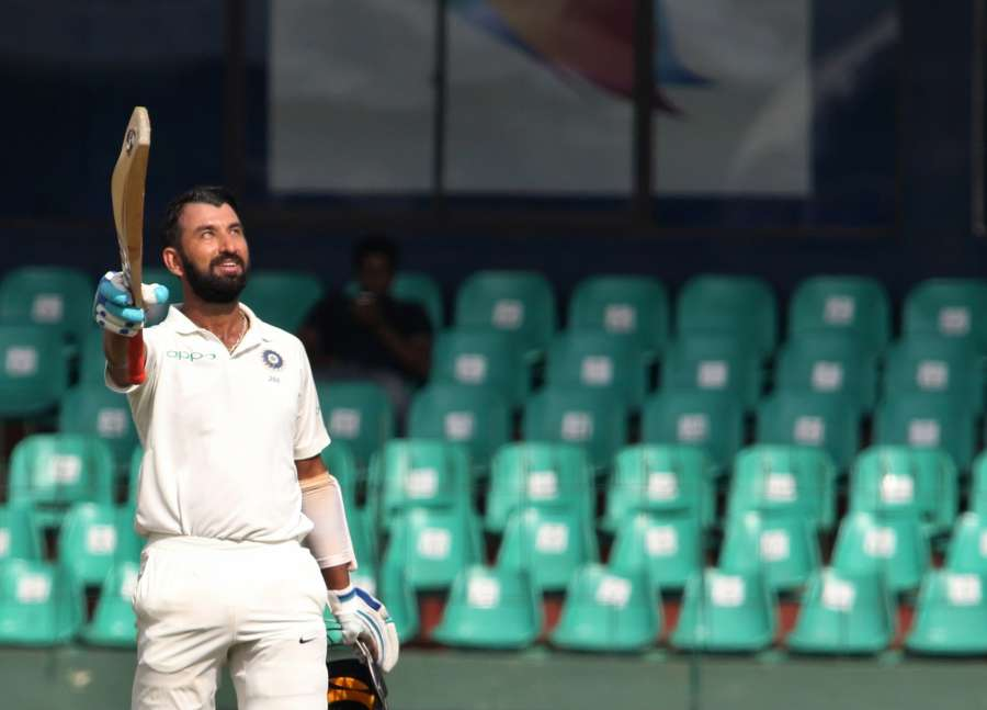 Colombo: India's Cheteshwar Pujara celebrates his century on Day 1 of the second test match between India and Sri Lanka at Sinhalese Sports Club Ground in Colombo, Sri Lanka on Aug 3, 2017. (Photo: Surjeet Yadav/IANS) by .